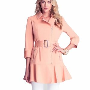 Bebe Pink Lightweight Belted Flare Trench Coat